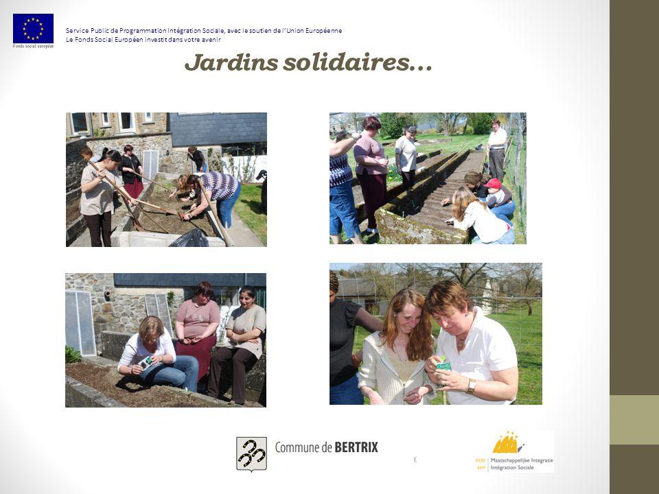 Jardins solidaires… Service Public de Programmation Intégration Sociale, avec le soutien de lUnion Européenne Le Fonds Social Européen investit dans votre avenir