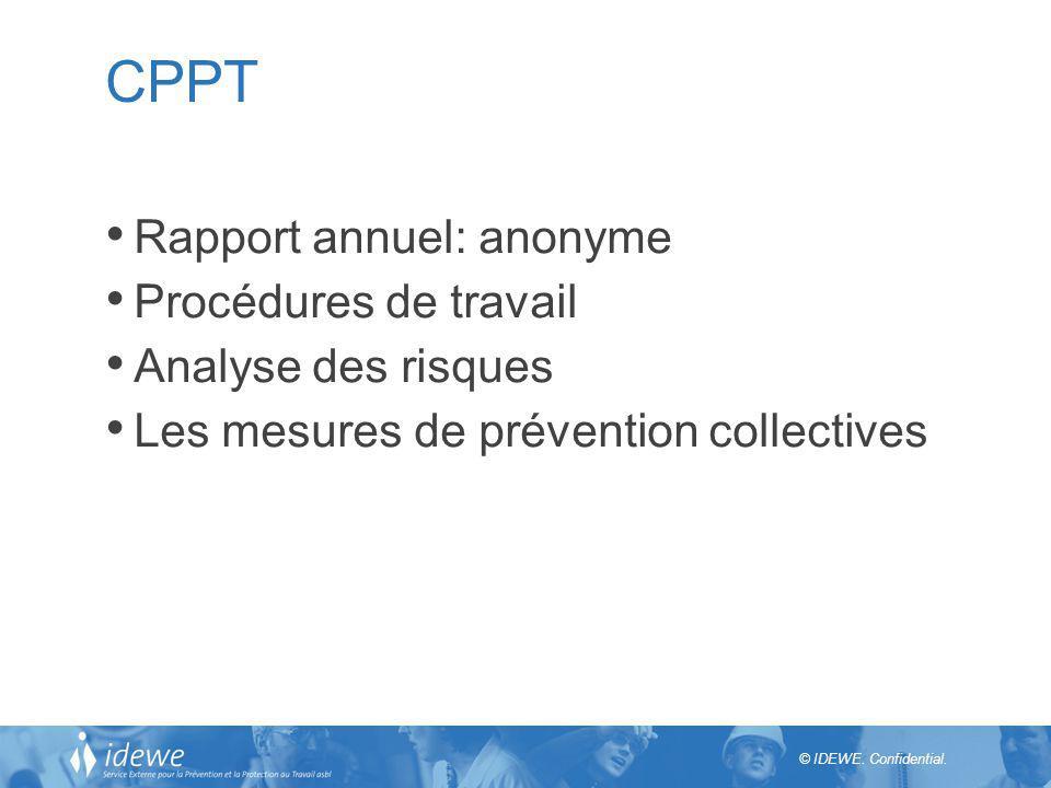 © IDEWE. Confidential. CPPT Rapport annuel: anonyme Procédures de travail Analyse des risques Les mesures de prévention collectives