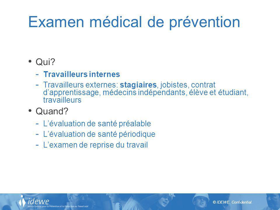 © IDEWE. Confidential. Examen médical de prévention Qui? - Travailleurs internes - Travailleurs externes: stagiaires, jobistes, contrat dapprentissage