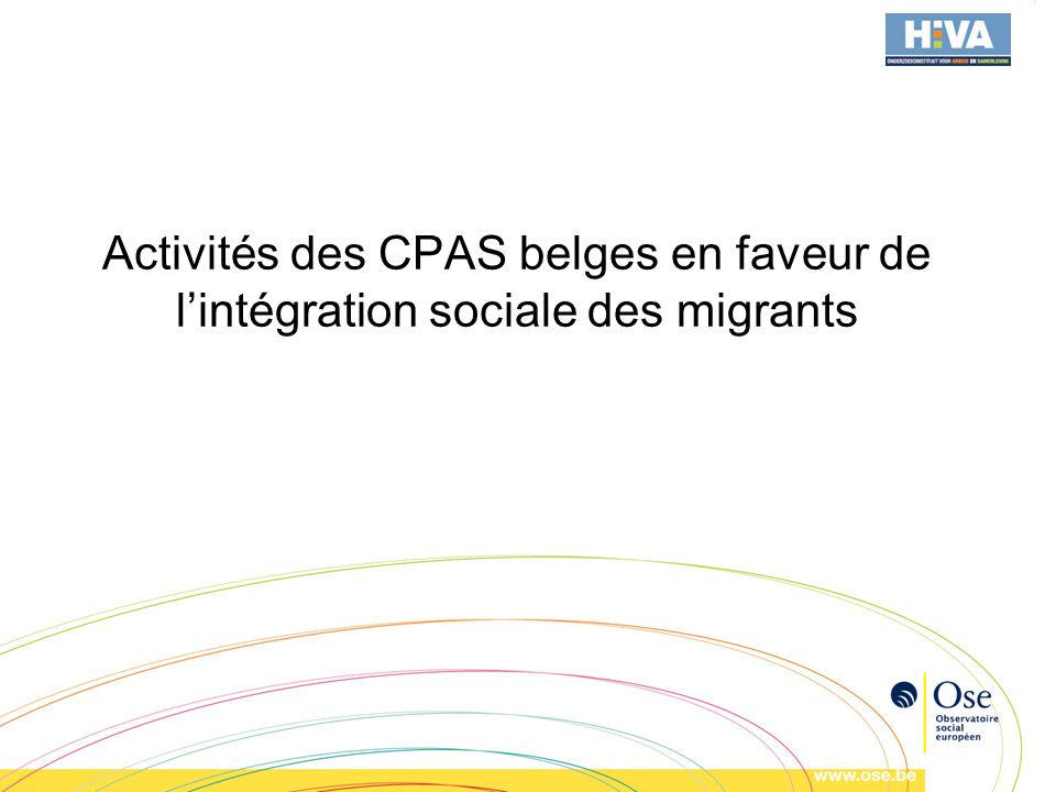 Activités des CPAS belges en faveur de lintégration sociale des migrants