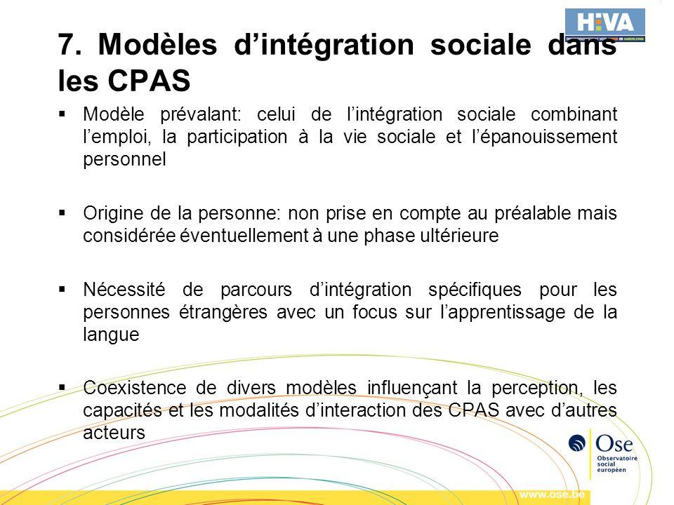 7. Modèles dintégration sociale dans les CPAS Modèle prévalant: celui de lintégration sociale combinant lemploi, la participation à la vie sociale et