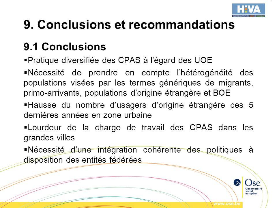 9. Conclusions et recommandations 9.1 Conclusions Pratique diversifiée des CPAS à légard des UOE Nécessité de prendre en compte lhétérogénéité des pop