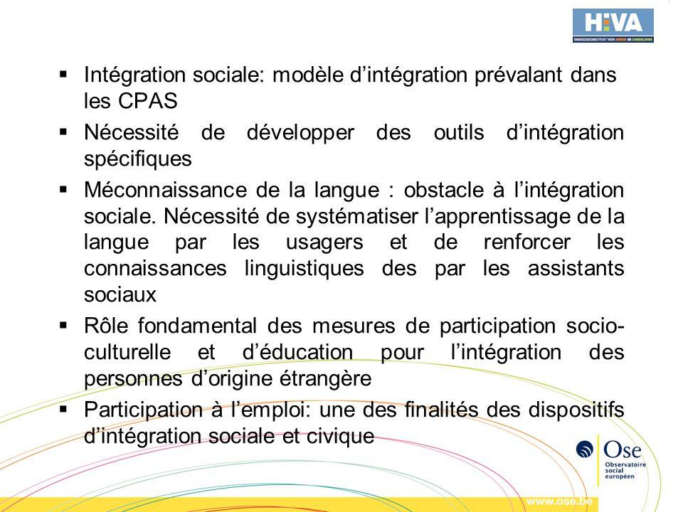 Intégration sociale: modèle dintégration prévalant dans les CPAS Nécessité de développer des outils dintégration spécifiques Méconnaissance de la langue : obstacle à lintégration sociale.