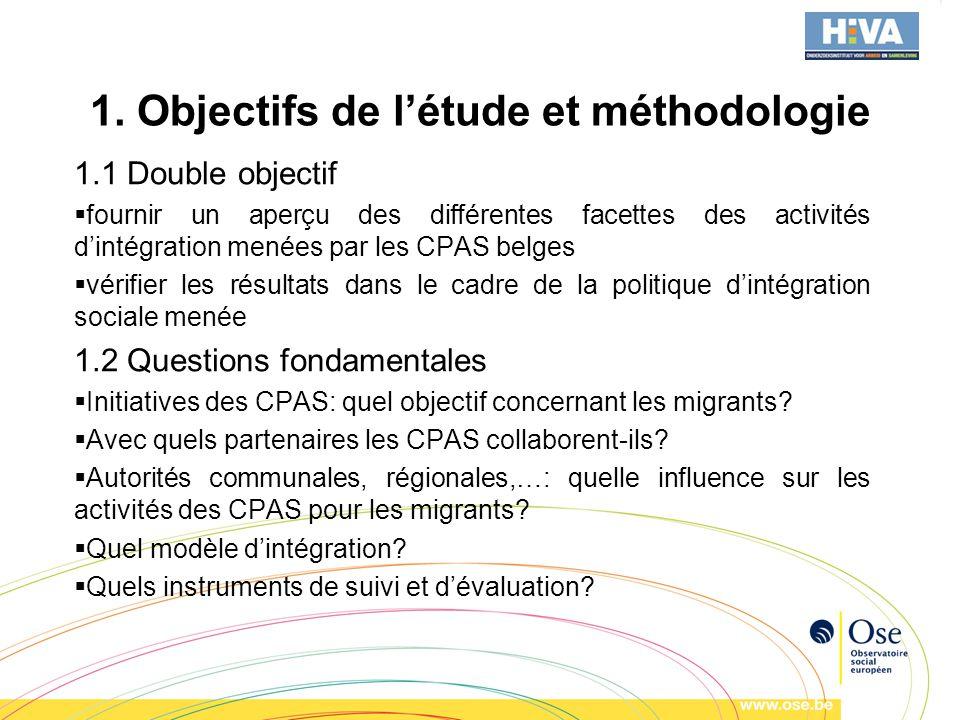 1. Objectifs de létude et méthodologie 1.1 Double objectif fournir un aperçu des différentes facettes des activités dintégration menées par les CPAS b