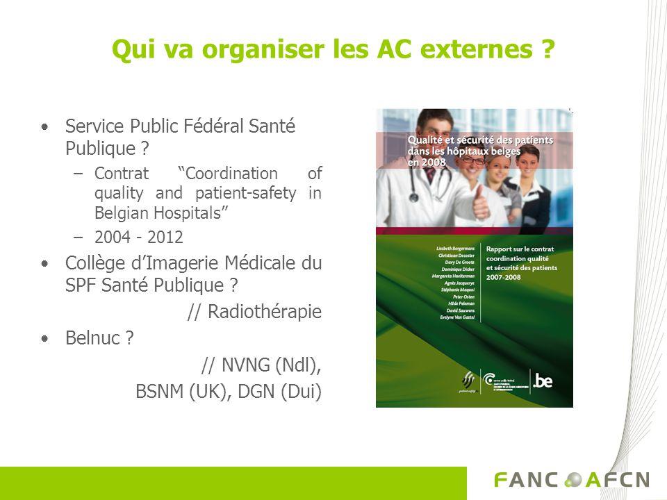 Qui va organiser les AC externes ? Service Public Fédéral Santé Publique ? –Contrat Coordination of quality and patient-safety in Belgian Hospitals –2