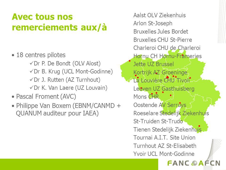 Avec tous nos remerciements aux/à 18 centres pilotes Dr P. De Bondt (OLV Alost) Dr B. Krug (UCL Mont-Godinne) Dr J. Rutten (AZ Turnhout) Dr K. Van Lae