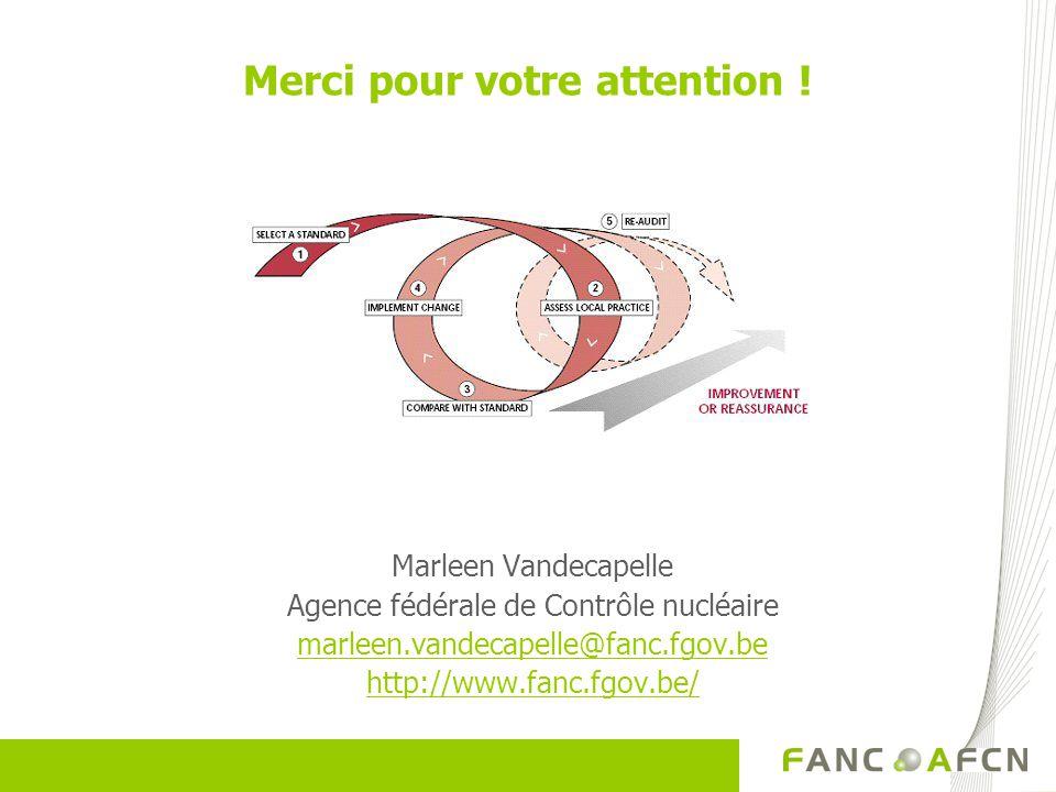 Merci pour votre attention ! Marleen Vandecapelle Agence fédérale de Contrôle nucléaire marleen.vandecapelle@fanc.fgov.be http://www.fanc.fgov.be/