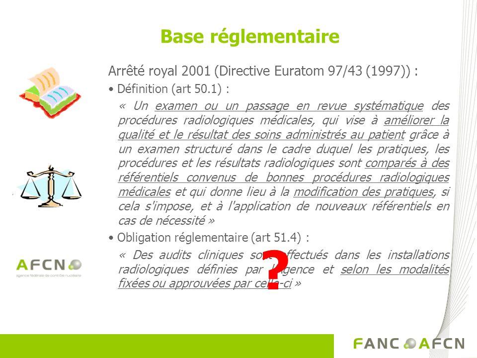 Arrêté royal 2001 (Directive Euratom 97/43 (1997)) : Définition (art 50.1) : « Un examen ou un passage en revue systématique des procédures radiologiq