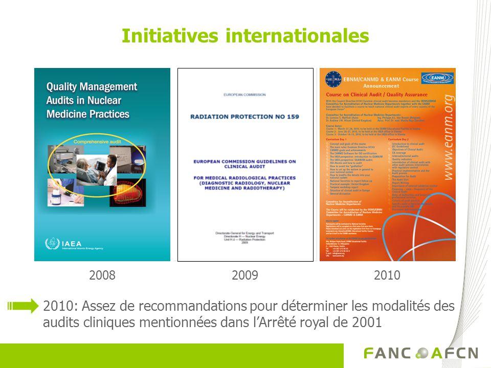 20092010 Initiatives internationales 2008 2010: Assez de recommandations pour déterminer les modalités des audits cliniques mentionnées dans lArrêté r