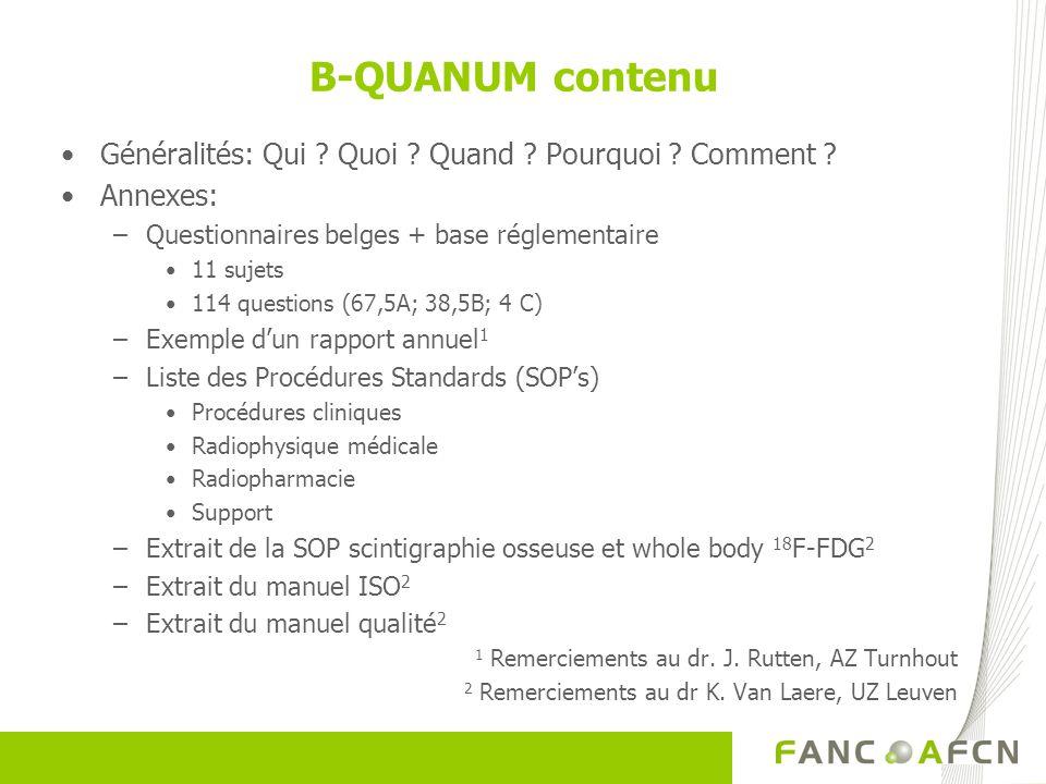 B-QUANUM contenu Généralités: Qui ? Quoi ? Quand ? Pourquoi ? Comment ? Annexes: –Questionnaires belges + base réglementaire 11 sujets 114 questions (