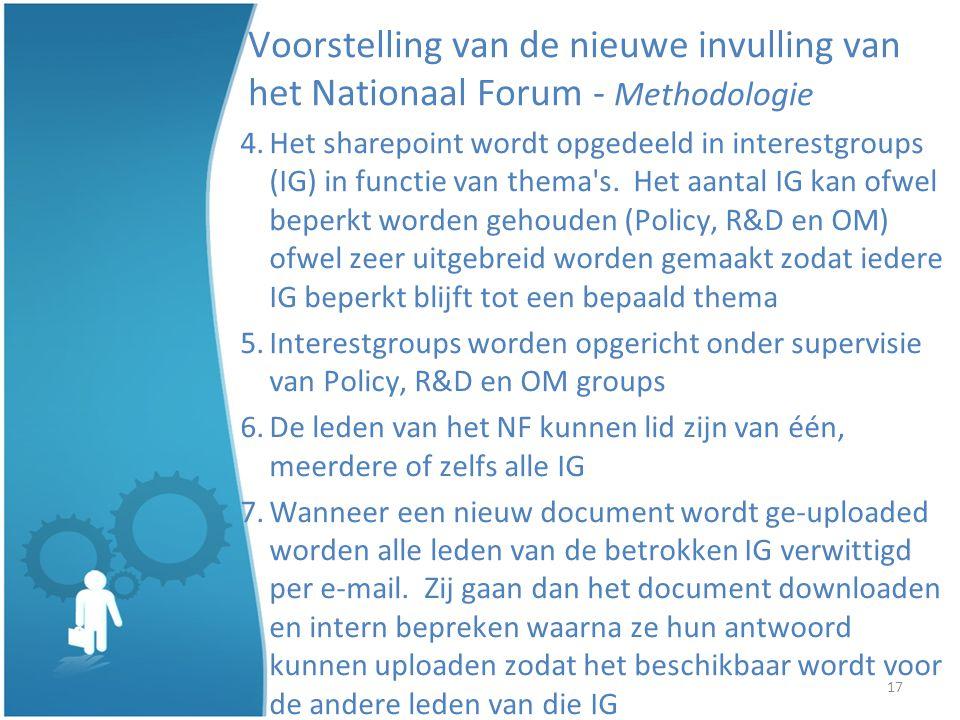 17 Voorstelling van de nieuwe invulling van het Nationaal Forum - Methodologie 4.Het sharepoint wordt opgedeeld in interestgroups (IG) in functie van thema s.
