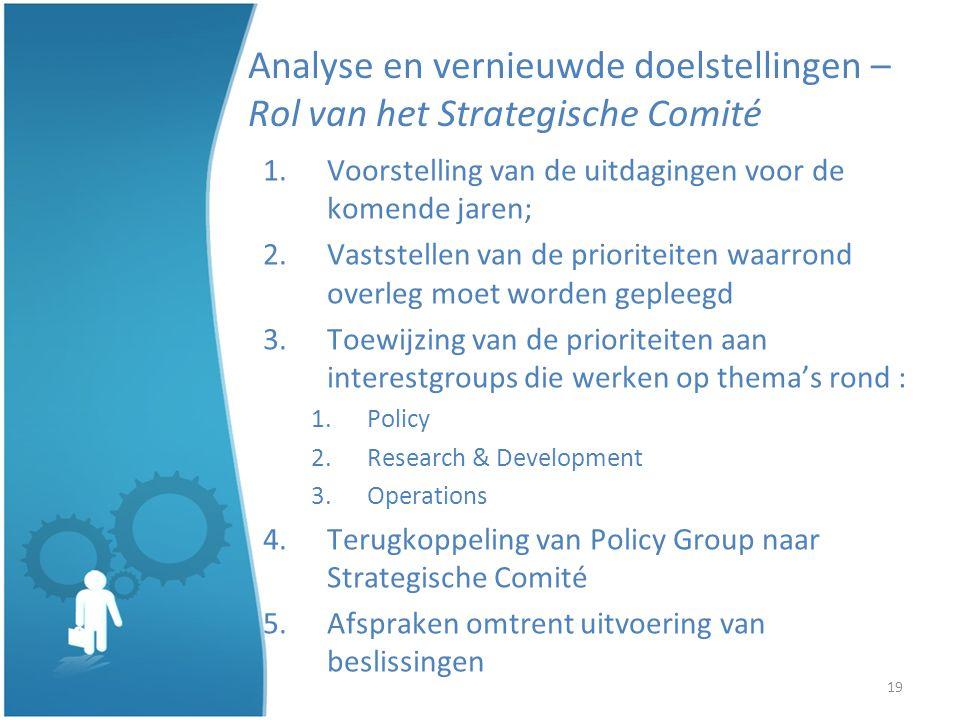 19 Analyse en vernieuwde doelstellingen – Rol van het Strategische Comité 1.Voorstelling van de uitdagingen voor de komende jaren; 2.Vaststellen van de prioriteiten waarrond overleg moet worden gepleegd 3.Toewijzing van de prioriteiten aan interestgroups die werken op themas rond : 1.Policy 2.Research & Development 3.Operations 4.Terugkoppeling van Policy Group naar Strategische Comité 5.Afspraken omtrent uitvoering van beslissingen