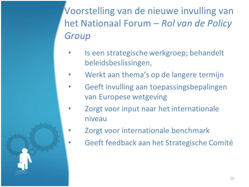 25 Voorstelling van de nieuwe invulling van het Nationaal Forum – Rol van de Policy Group Is een strategische werkgroep; behandelt beleidsbeslissingen, Werkt aan themas op de langere termijn Geeft invulling aan toepassingsbepalingen van Europese wetgeving Zorgt voor input naar het internationale niveau Zorgt voor internationale benchmark Geeft feedback aan het Strategische Comité