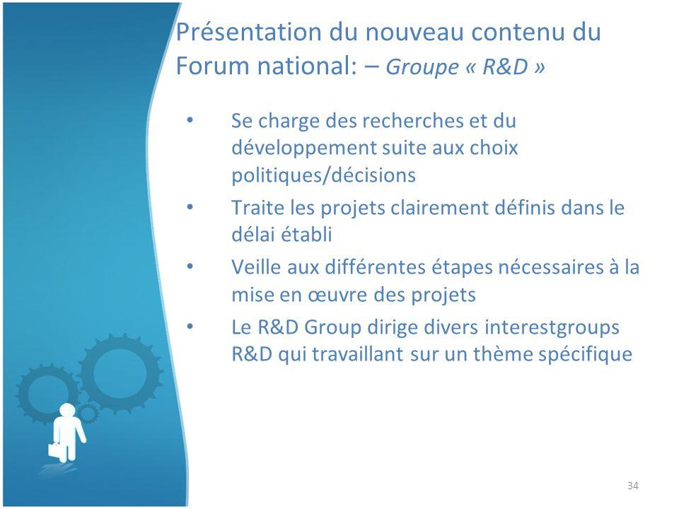 34 Présentation du nouveau contenu du Forum national: – Groupe « R&D » Se charge des recherches et du développement suite aux choix politiques/décisions Traite les projets clairement définis dans le délai établi Veille aux différentes étapes nécessaires à la mise en œuvre des projets Le R&D Group dirige divers interestgroups R&D qui travaillant sur un thème spécifique