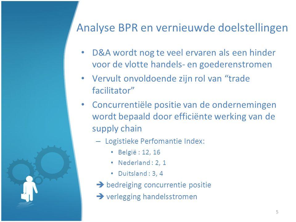 5 Analyse BPR en vernieuwde doelstellingen D&A wordt nog te veel ervaren als een hinder voor de vlotte handels- en goederenstromen Vervult onvoldoende zijn rol van trade facilitator Concurrentiële positie van de ondernemingen wordt bepaald door efficiënte werking van de supply chain – Logistieke Perfomantie Index: België : 12, 16 Nederland : 2, 1 Duitsland : 3, 4 bedreiging concurrentie positie verlegging handelsstromen