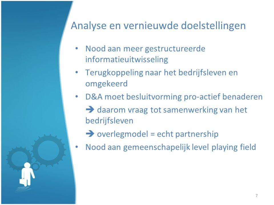 8 Analyse et nouveaux objectifs Besoin d échanger des informations de façon plus structurée Échange de feedback entre les entreprises et D&A D&A doit adopter une approche décisionnelle proactive demande de coopération de la part des entreprises modèle de consultation = véritable partenariat Nécessité dun level playing field commun