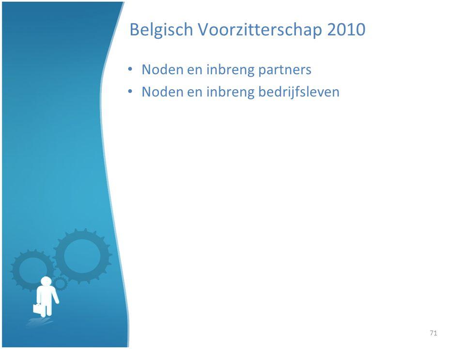 71 Belgisch Voorzitterschap 2010 Noden en inbreng partners Noden en inbreng bedrijfsleven