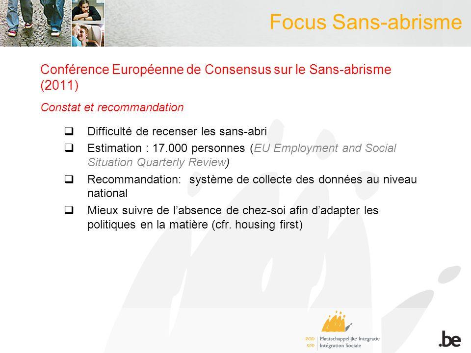 Focus Sans-abrisme Conférence Européenne de Consensus sur le Sans-abrisme (2011) Constat et recommandation Difficulté de recenser les sans-abri Estima