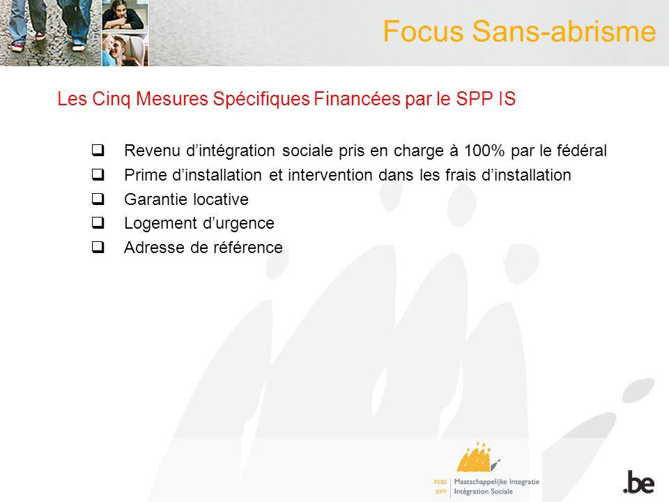Focus Sans-abrisme Les Cinq Mesures Spécifiques Financées par le SPP IS Revenu dintégration sociale pris en charge à 100% par le fédéral Prime dinstal