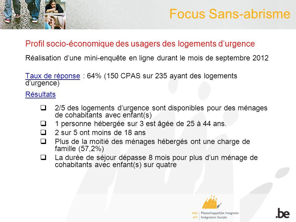 Focus Sans-abrisme Profil socio-économique des usagers des logements durgence Réalisation dune mini-enquête en ligne durant le mois de septembre 2012
