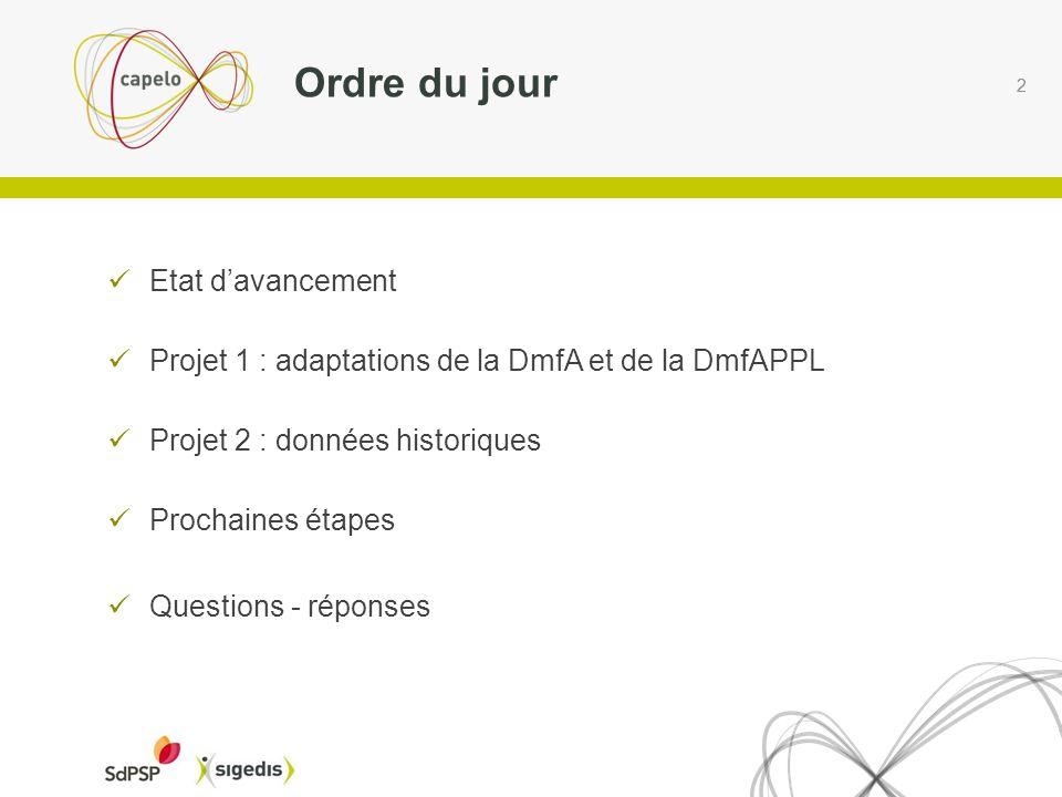 2 Etat davancement Projet 1 : adaptations de la DmfA et de la DmfAPPL Projet 2 : données historiques Prochaines étapes Questions - réponses Ordre du jour 2