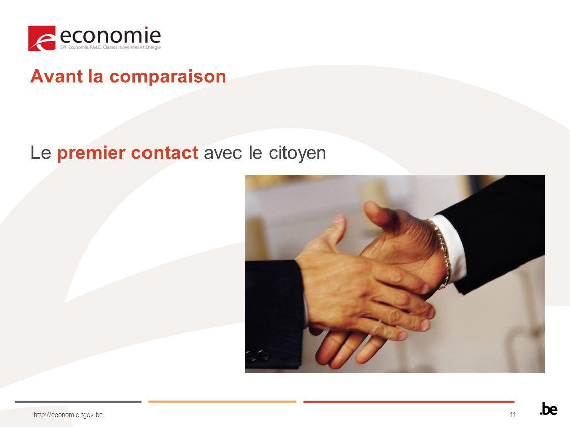 11 Avant la comparaison Le premier contact avec le citoyen http://economie.fgov.be