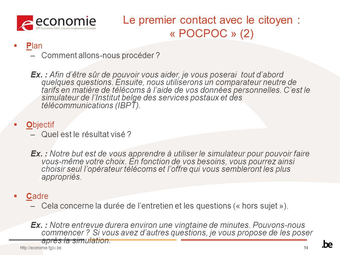 14 http://economie.fgov.be Plan –Comment allons-nous procéder ? Ex. : Afin dêtre sûr de pouvoir vous aider, je vous poserai tout dabord quelques quest