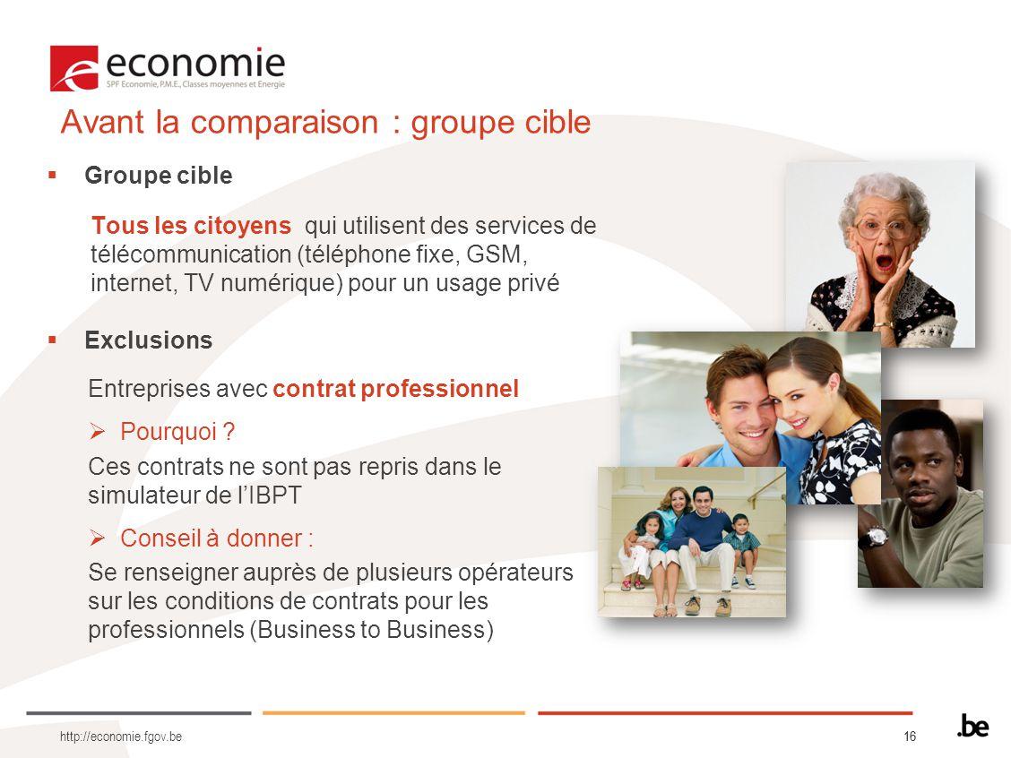16 http://economie.fgov.be Groupe cible Tous les citoyens qui utilisent des services de télécommunication (téléphone fixe, GSM, internet, TV numérique