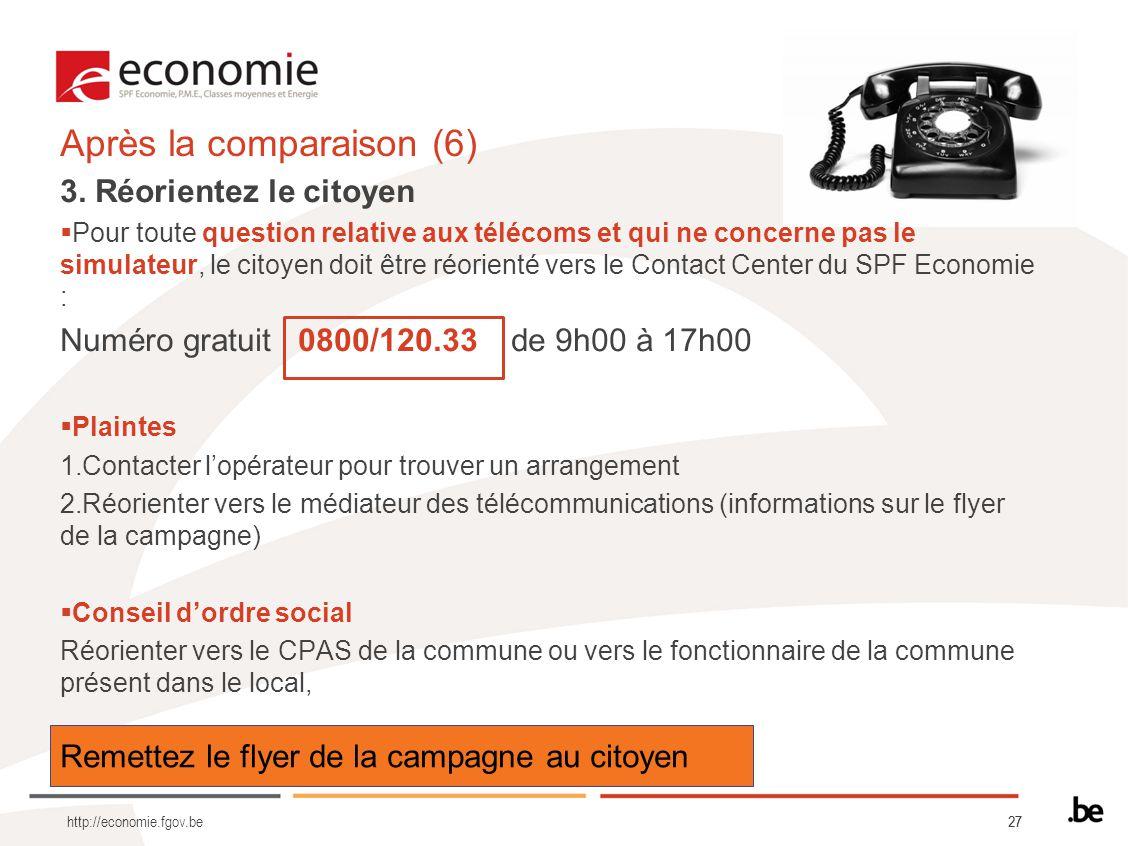 27 Remettez le flyer de la campagne au citoyen Après la comparaison (6) 3. Réorientez le citoyen Pour toute question relative aux télécoms et qui ne c