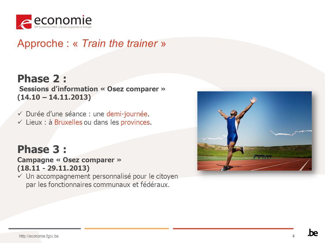 44 http://economie.fgov.be Phase 2 : Sessions dinformation « Osez comparer » (14.10 – 14.11.2013) Durée dune séance : une demi-journée. Lieux : à Brux