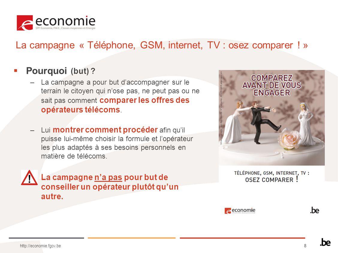 88 http://economie.fgov.be Pourquoi (but) ? –La campagne a pour but daccompagner sur le terrain le citoyen qui nose pas, ne peut pas ou ne sait pas co