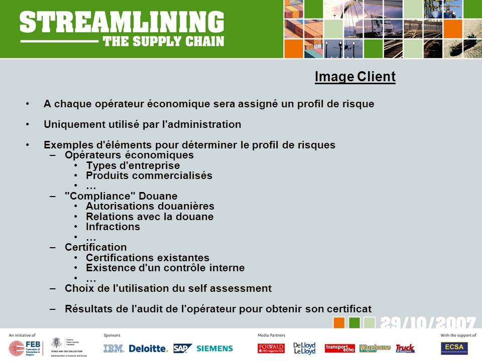 Image Client A chaque opérateur économique sera assigné un profil de risque Uniquement utilisé par l'administration Exemples d'éléments pour détermine