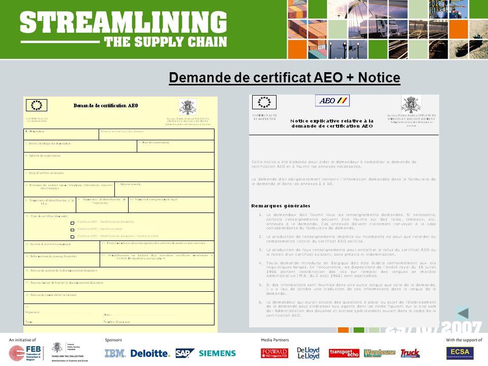 Demande de certificat AEO + Notice