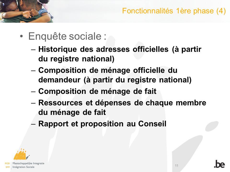 11 Enquête sociale : –Historique des adresses officielles (à partir du registre national) –Composition de ménage officielle du demandeur (à partir du