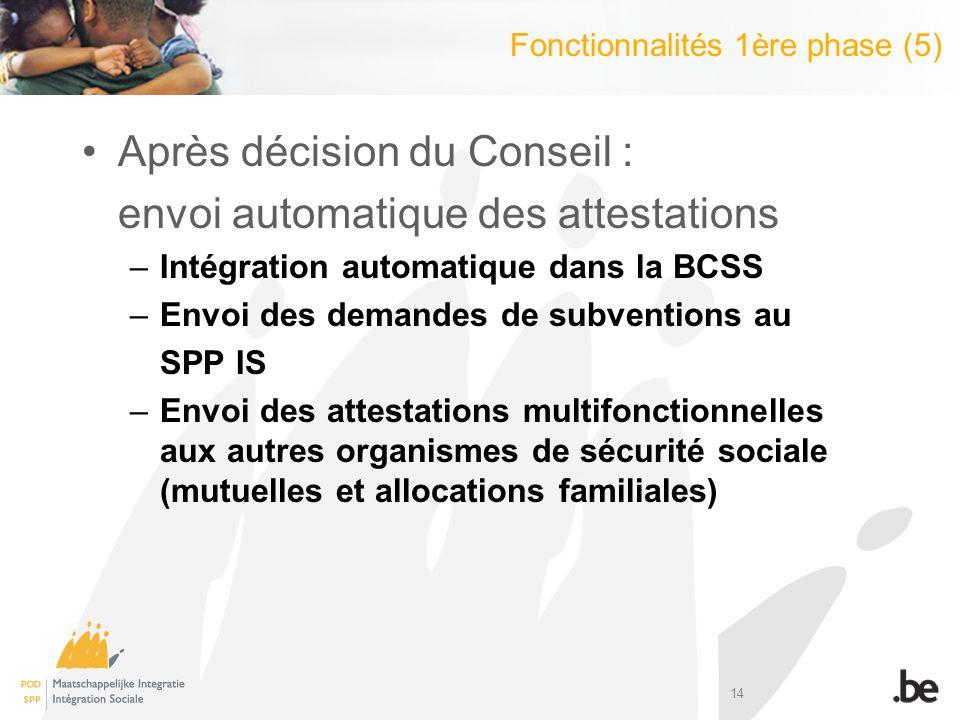 14 Après décision du Conseil : envoi automatique des attestations –Intégration automatique dans la BCSS –Envoi des demandes de subventions au SPP IS –Envoi des attestations multifonctionnelles aux autres organismes de sécurité sociale (mutuelles et allocations familiales) Fonctionnalités 1ère phase (5)
