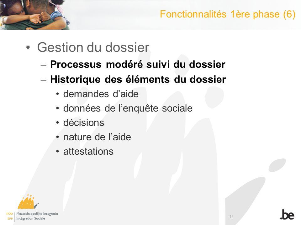 17 Gestion du dossier –Processus modéré suivi du dossier –Historique des éléments du dossier demandes daide données de lenquête sociale décisions natu