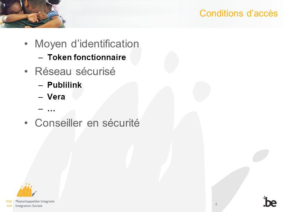 4 Conditions daccès Moyen didentification –Token fonctionnaire Réseau sécurisé –Publilink –Vera –… Conseiller en sécurité 4