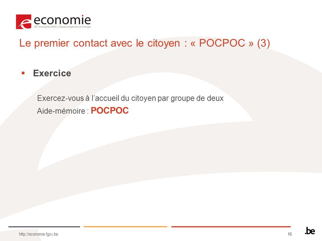 15 Le premier contact avec le citoyen : « POCPOC » (3) Exercice Exercez-vous à laccueil du citoyen par groupe de deux Aide-mémoire : POCPOC http://economie.fgov.be