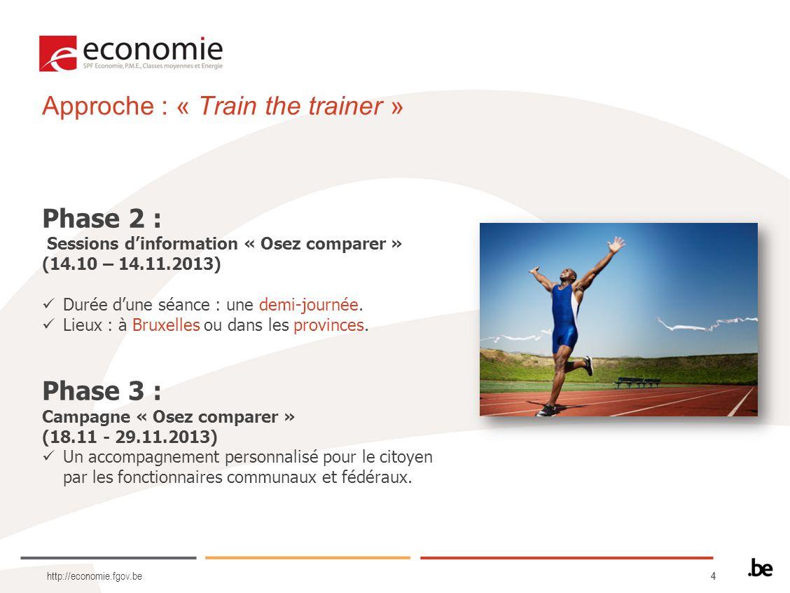 44 http://economie.fgov.be Phase 2 : Sessions dinformation « Osez comparer » (14.10 – 14.11.2013) Durée dune séance : une demi-journée.