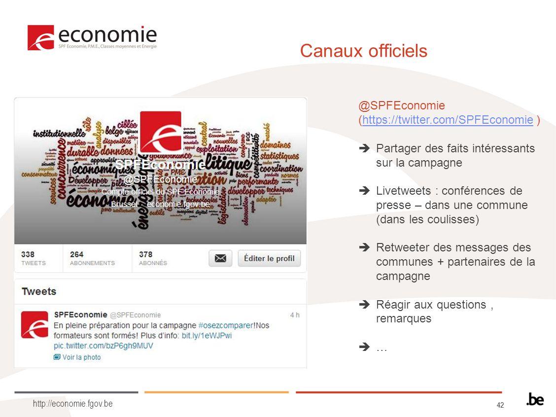 42 http://economie.fgov.be Canaux officiels @SPFEconomie (https://twitter.com/SPFEconomie )https://twitter.com/SPFEconomie Partager des faits intéress