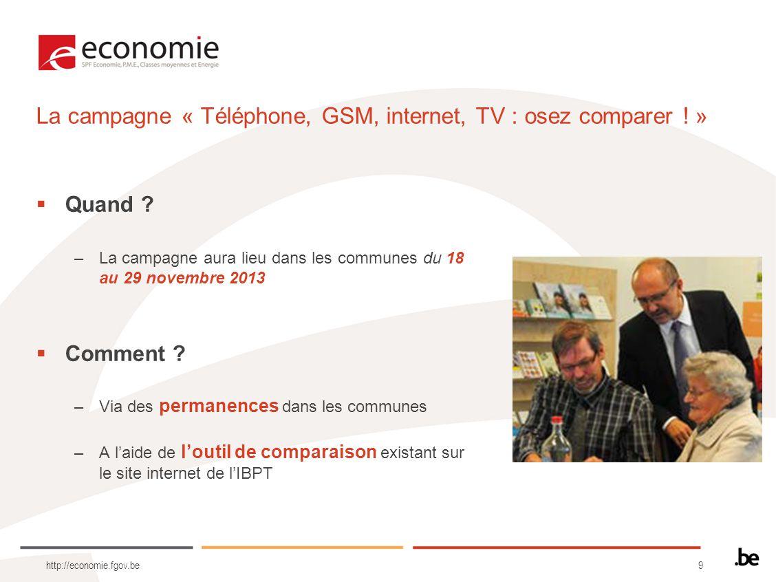 9 http://economie.fgov.be Quand ? –La campagne aura lieu dans les communes du 18 au 29 novembre 2013 Comment ? –Via des permanences dans les communes
