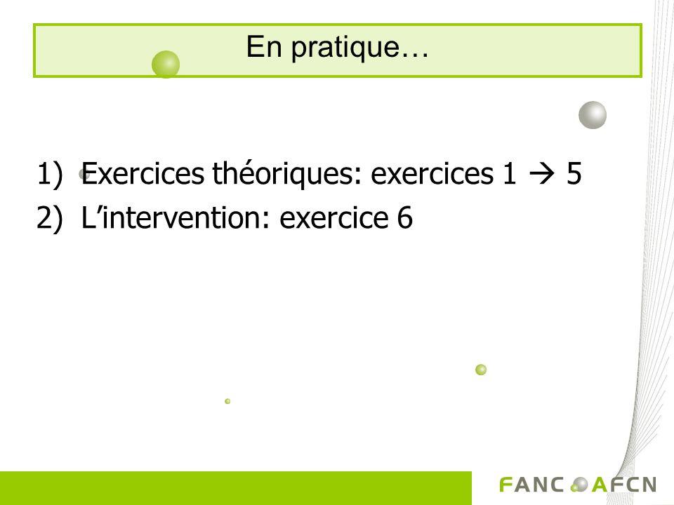 1)Exercices théoriques: exercices 1 5 2)Lintervention: exercice 6 En pratique…