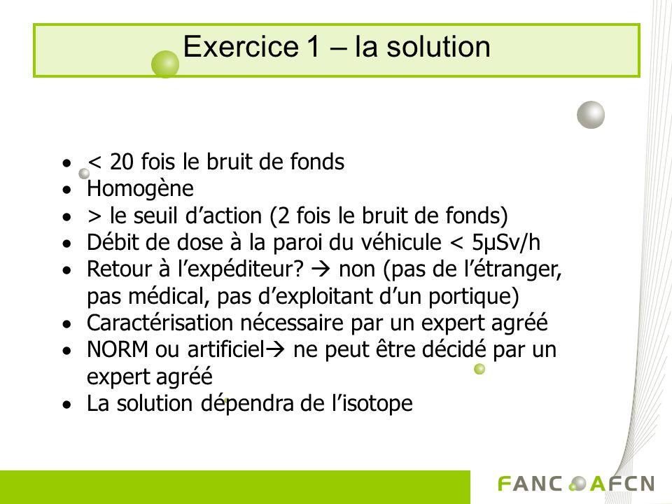 Exercice 1 – la solution < 20 fois le bruit de fonds Homogène > le seuil daction (2 fois le bruit de fonds) Débit de dose à la paroi du véhicule < 5µSv/h Retour à lexpéditeur.