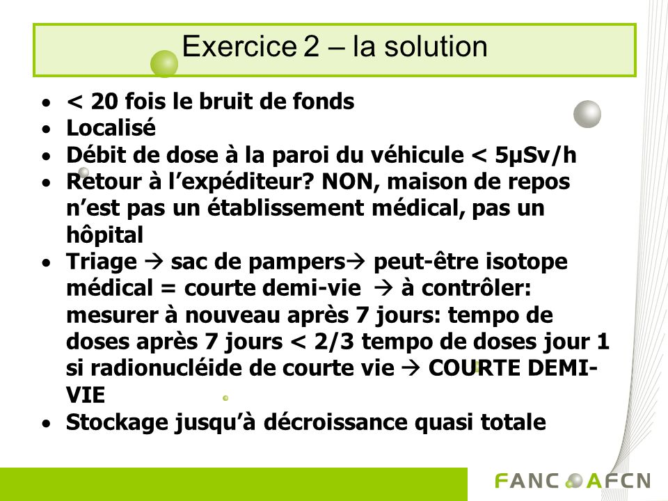 Exercice 2 – la solution < 20 fois le bruit de fonds Localisé Débit de dose à la paroi du véhicule < 5µSv/h Retour à lexpéditeur.