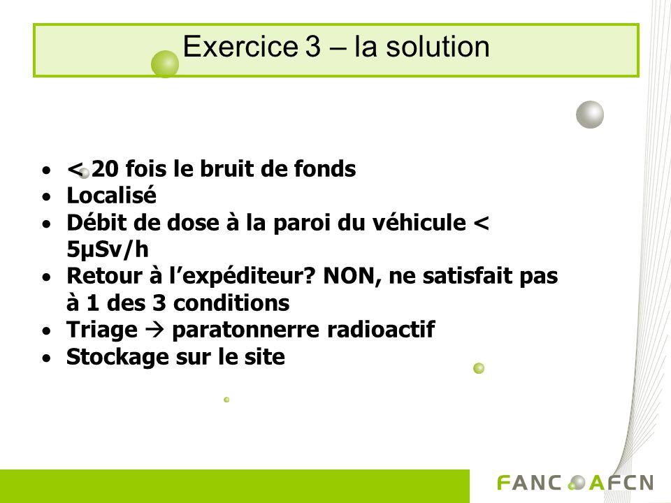 Exercice 3 – la solution < 20 fois le bruit de fonds Localisé Débit de dose à la paroi du véhicule < 5µSv/h Retour à lexpéditeur.