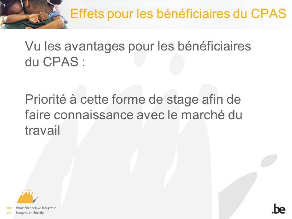 Effets pour les bénéficiaires du CPAS Vu les avantages pour les bénéficiaires du CPAS : Priorité à cette forme de stage afin de faire connaissance avec le marché du travail