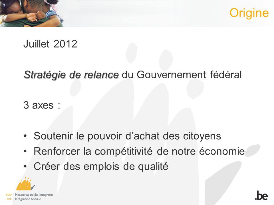 Juillet 2012 Stratégie de relance Stratégie de relance du Gouvernement fédéral 3 axes : Soutenir le pouvoir dachat des citoyens Renforcer la compétitivité de notre économie Créer des emplois de qualité Origine
