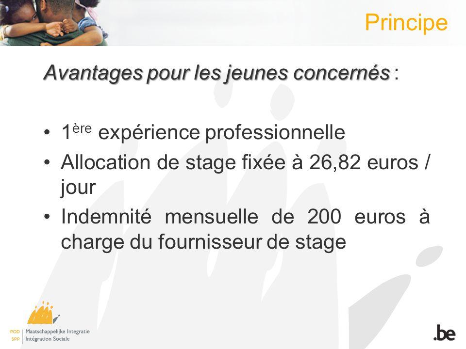 Principe Avantages pour les jeunes concernés Avantages pour les jeunes concernés : 1 ère expérience professionnelle Allocation de stage fixée à 26,82 euros / jour Indemnité mensuelle de 200 euros à charge du fournisseur de stage