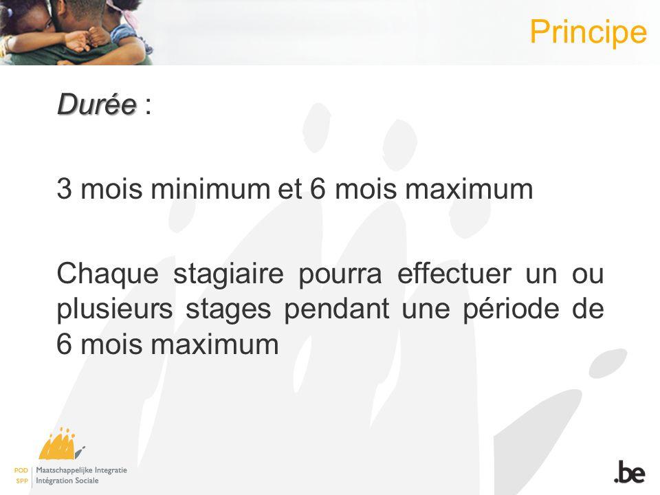 Principe Durée Durée : 3 mois minimum et 6 mois maximum Chaque stagiaire pourra effectuer un ou plusieurs stages pendant une période de 6 mois maximum