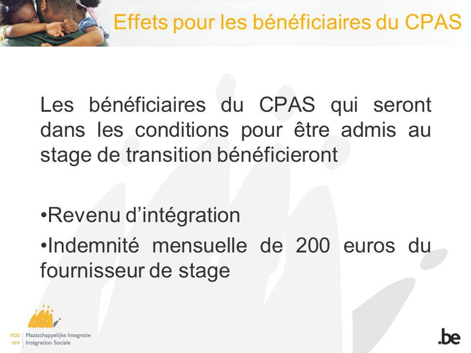 Effets pour les bénéficiaires du CPAS Les bénéficiaires du CPAS qui seront dans les conditions pour être admis au stage de transition bénéficieront Revenu dintégration Indemnité mensuelle de 200 euros du fournisseur de stage